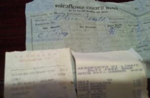 ペルー ミラフローレスホテル領収書